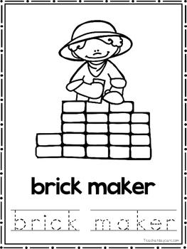 Colonial Jobs Coloring Book worksheets.  Preschool-2nd Grade