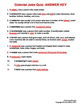 Colonial Jobs/Careers- Notes and Quiz- 3rd, 4th, 5th