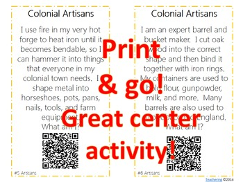 Colonial Jobs Task Cards with QR Codes {Artisans}