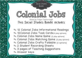 Colonial Jobs Social Studies Bundle