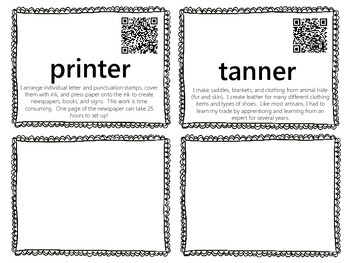 Colonial Jobs Word Wall with QR Codes {Artisan Occupations}