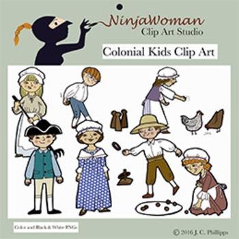 Colonial Kids Clip Art