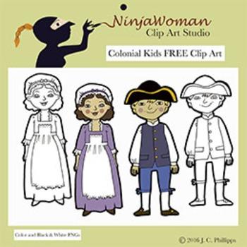Colonial Kids FREE Clip Art