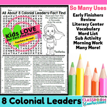 Colonial Leaders Activity: Colonial Leaders Word Search (n