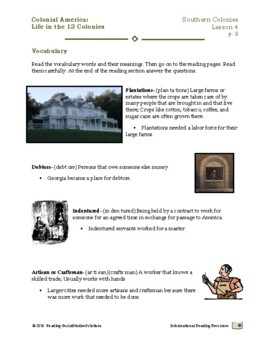Colonial Life Lesson 4 - Life in the Southern Colonies