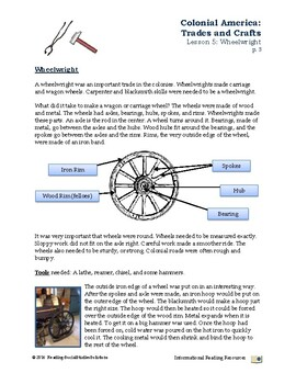 Colonial Trades Lesson 5 - Wheelwright