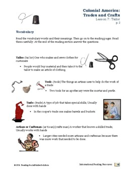 Colonial Trades Lesson 7 - Tailor