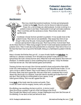 Colonial Trades Lesson 4 - Apothecary