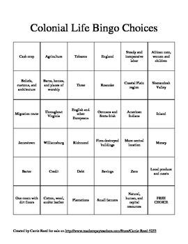 Colonial Life Bingo: Virginia Studies SOLs 4a-4e