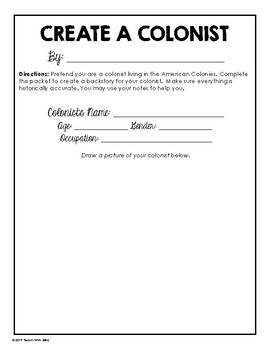 American Colonies/Colonial Life Social Studies Mini-Project: Create a Colonist