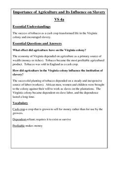 Colonial Life Notes, Activities, Assessments: Virginia Studies SOLS 4a-e