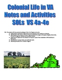 Colonial Life Notes, Activities, Assessments: Virginia Stu