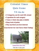 Colonial Life Quiz Game for Virginia Studies SOLs 4a-e
