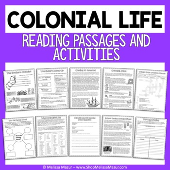 Colonial Life - Reading Passages and Activities