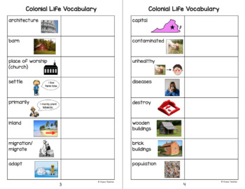 Colonial Life Vocabulary Charts (VS.4)