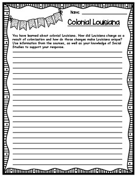Colonial Louisiana Extended Response Writing Task