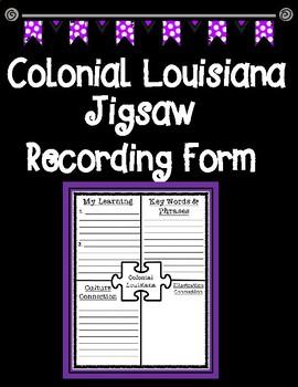 Colonial Louisiana Jigsaw Recording Graphic Organizer