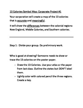 Characteristics of 13 Colonies Regions Map Symbol Activity