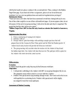 Colonial Unit - Math Lesson Plan for 4th grade (place value)