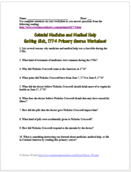 Colonial Medicine and Medical Help: Getting Sick, 1774 Primary Source Worksheet