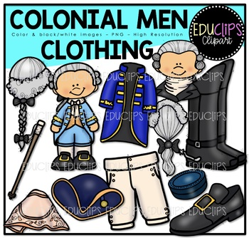 Colonial Men - Clothing Clip Art Bundle {Educlips Clipart}