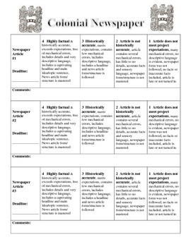 Colonial Newspaper Rubric