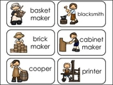 Colonial Occupations and Trades Picture Word Flash Cards.