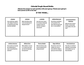 Colonial People Round Robin