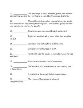 Colonial Period Quiz