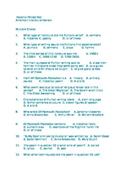 American Literature Colonial Period Test 70 Objective Questions
