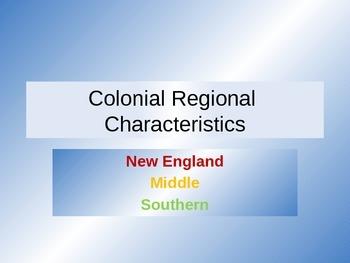 Colonial Regional Characteristics Powerpoint