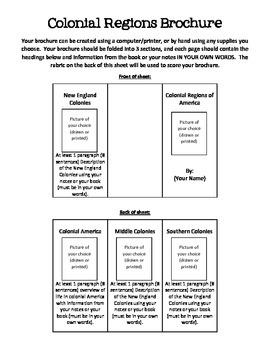 Colonial Regions Brochure Assignment