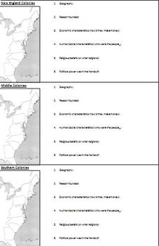 The Big Sheet - Colonial Regions Summary/Grouping Activity