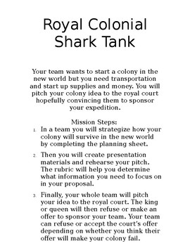 Colonial Royal Shark Tank PBL