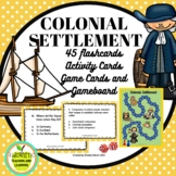 Colonial Settlement Activity and Game Cards with Gameboard