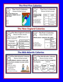 Colonial Task Card Duo Bundle: The 13 Colonies and Colonial Life
