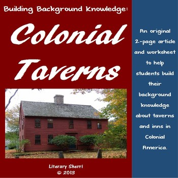 Colonial Taverns Mini-Lesson for Middle School (Grades 6, 7, 8)