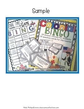 Colonial Times - 13 Colonies Bingo
