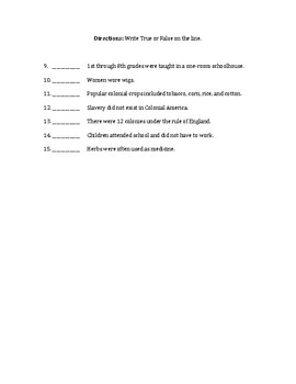 Colonial Times Quiz