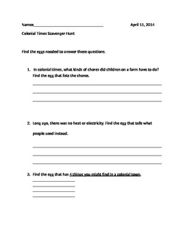 Colonial Times Scavenger Hunt