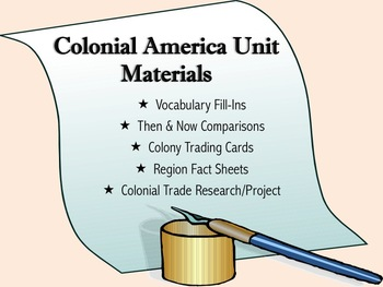 Colonial America Activities/Assessments/Internet Research