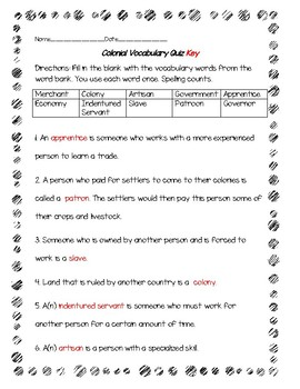Colonial Times Vocabulary Quiz