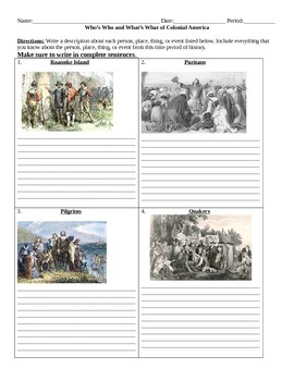 Colonial Times: Who's Who and What's What Assignment
