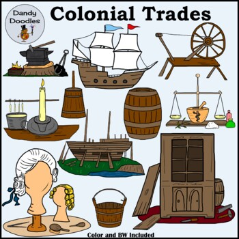 Colonial Trades Clip Art by Dandy Doodles