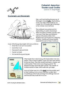 Colonial Trades Lesson 6 - Shipwright