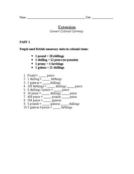 Colonial Unit - Math Worksheet for 4th grade (currency conversion)