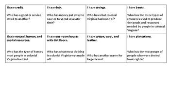 Colonial Virginia - I Have, Who Has? (VS.4)