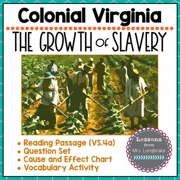 Colonial Virginia Slavery & Agriculture Reading, Cause and Effect VS.4a,VS.1f