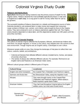 Colonial Virginia Study Guide and Review Worksheet (VS.4)
