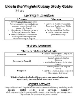 Colonial Virginia Unit Test Study Guide
